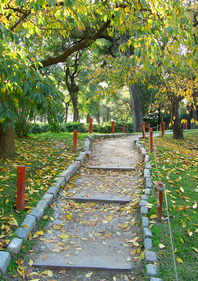 Download Walking Footpath In An Autumn Japanese Garden Stock Photo - Image: 26498546