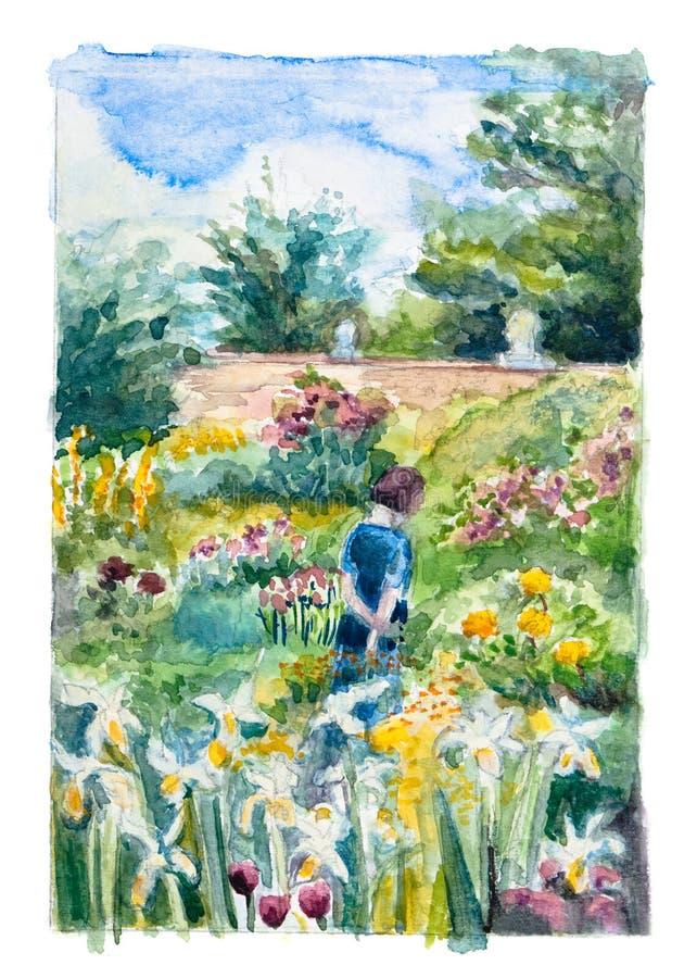 Walking in the Garden royalty free illustration