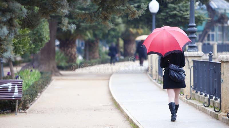 Download Walking girl under rain stock image. Image of motion - 12990803