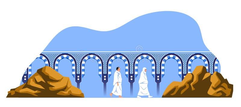 Walking Hajj Pilgrims Between Safa And Marwa Mount. Couple hajj pilgrimage walk back and forth between the hills of Safa and Marwah. One of Islam`s sacred royalty free illustration