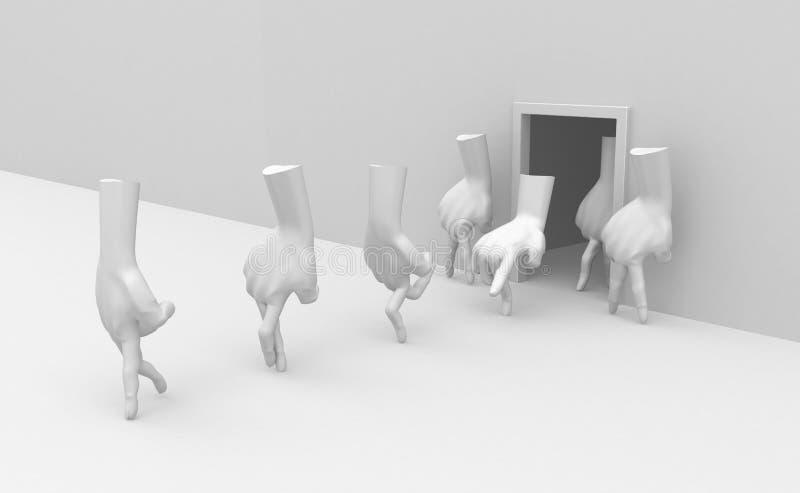 Download Walking Hand Exit stock illustration. Image of limb, rendering - 13615951