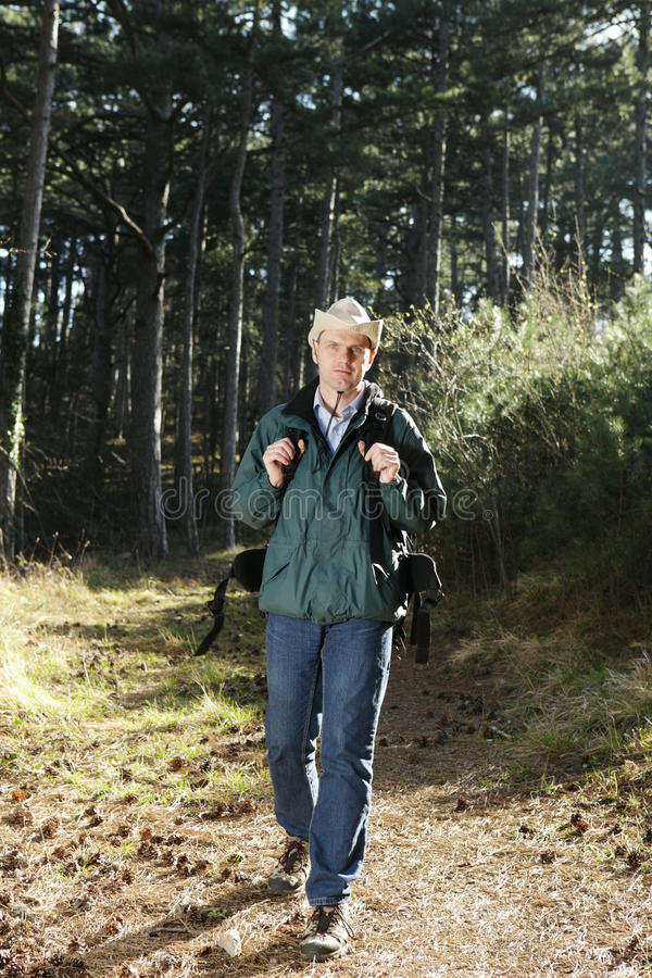 Walking hiker with backpack stock photo