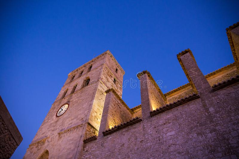 Walking in Ibiza`s medieval age old town and fortress Dalt Vila, in Ibiza Town: the cathedral.  stock image