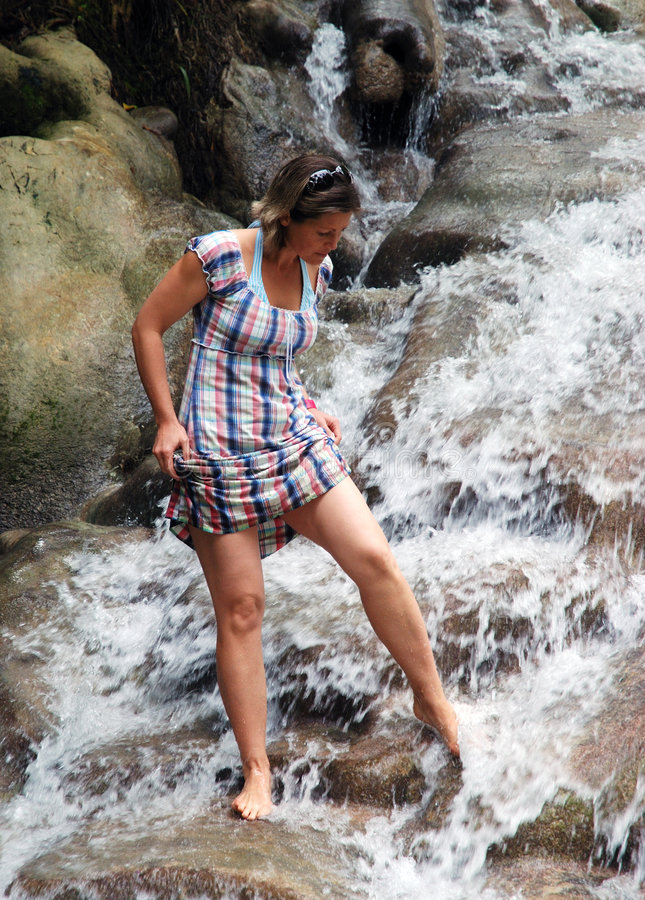Download Walking In Jamaican Falls stock image. Image of girl, tourist - 9289323