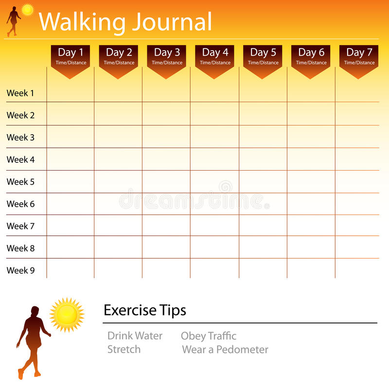 Walking Journal Chart vector illustration