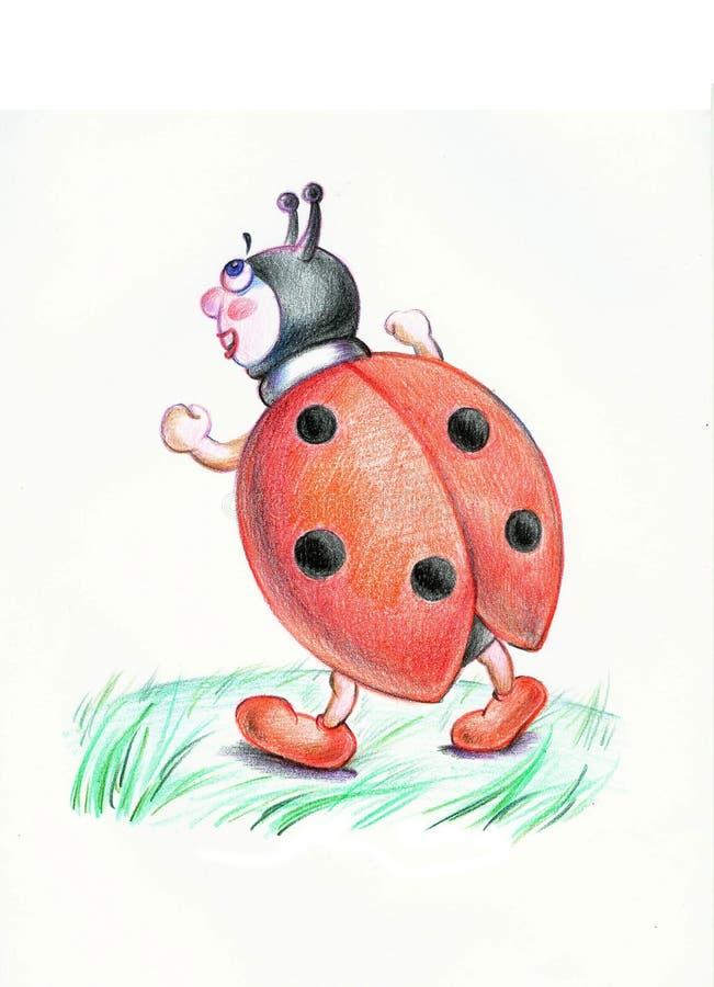 Walking ladybug illustration royalty free stock photo