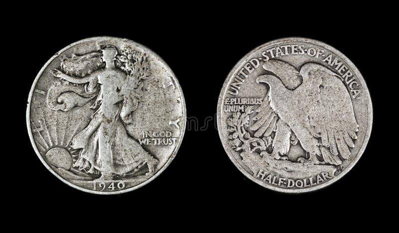 Download Walking Liberty Half Dollar, 1940 Stock Photo - Image of gray, front: 40414456