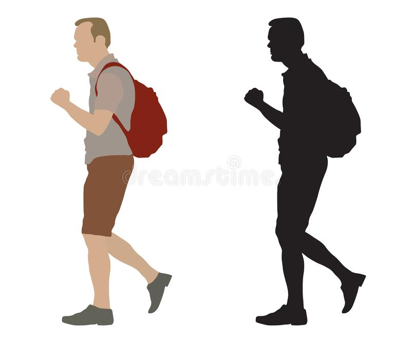 Walking man with backpack and silhouette, vector illustration, isolated on white background.  royalty free illustration