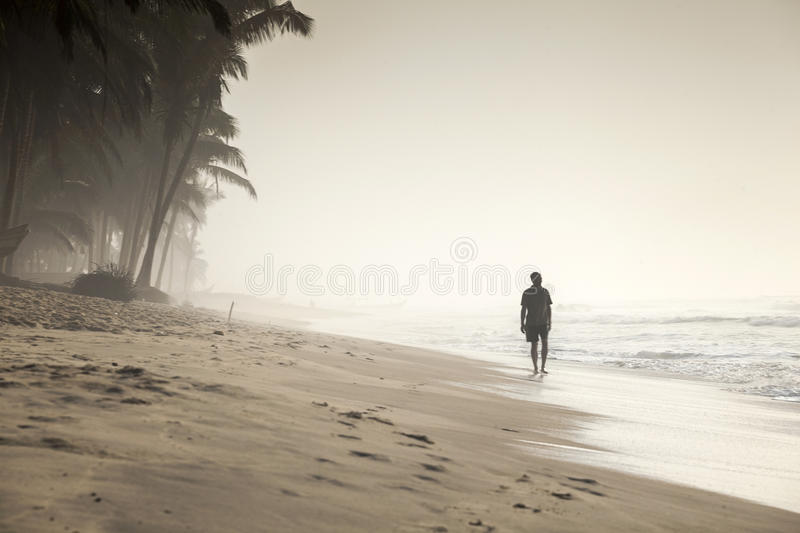 Walking man on a beautiful tropical beach stock image