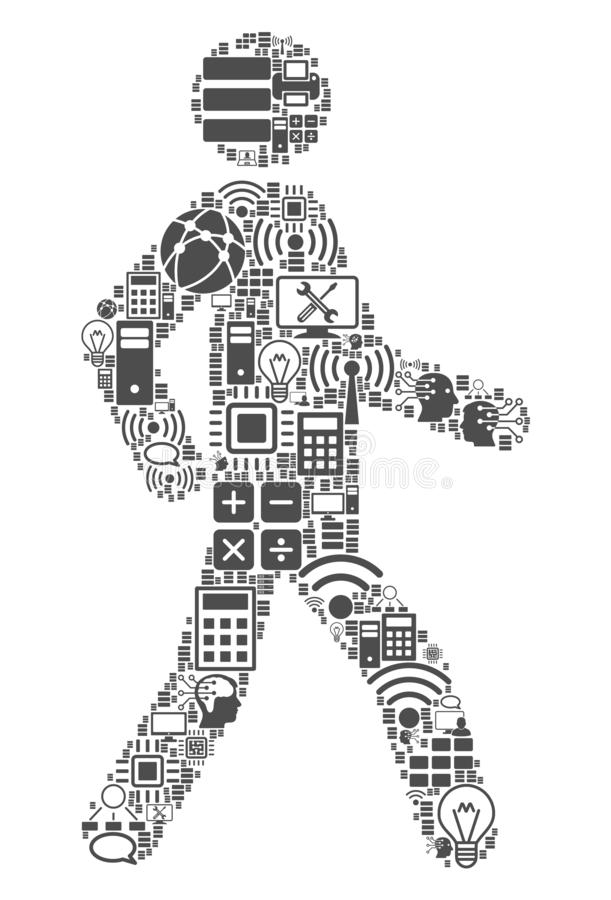 Walking Man Mosaic Icon for BigData and Computing. Walking Man collage icon combined for bigdata and computing illustrations. Vector walking man mosaics are royalty free illustration