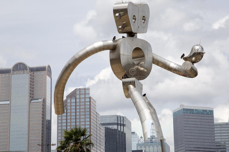 Download The Walking Man And Downtown Dallas Stock Photo - Image: 58958098
