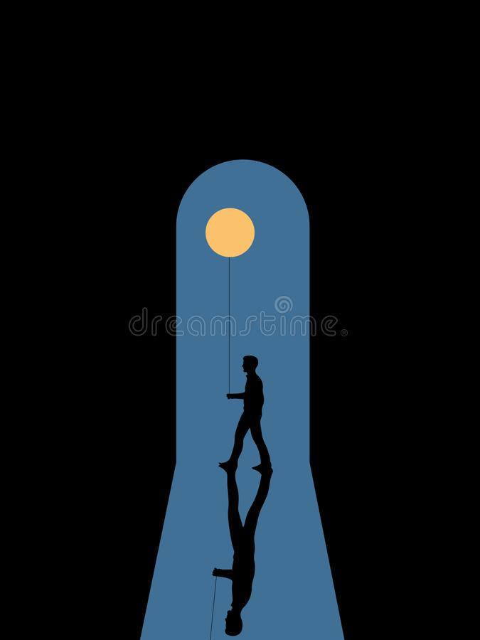 Walking man in the moonlight royalty free illustration