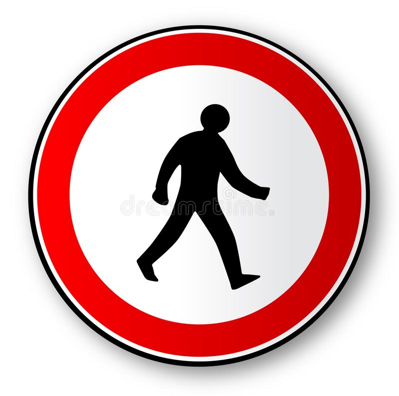 Walking Man Road Traffic Sign Isolated. A walkimg man road traffic sign over a white backround vector illustration
