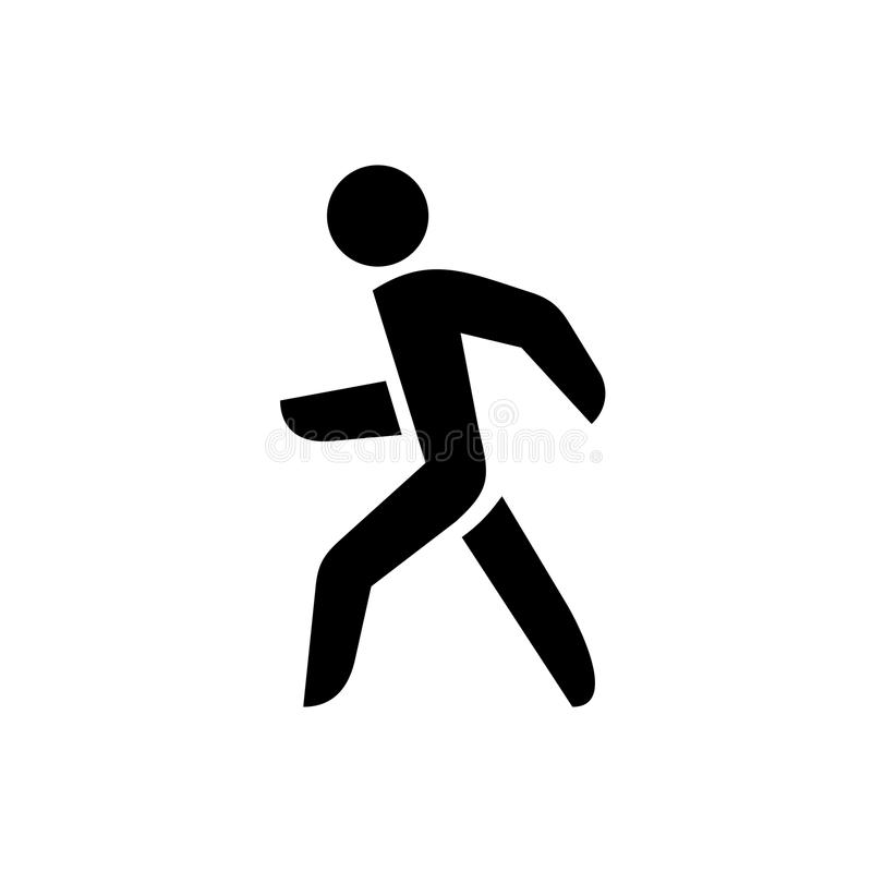 Walking man silhouette. Onlу black color. Walking man silhouette. Onlу black color isolated on a white background stock illustration