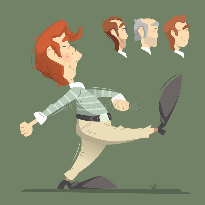 Walking man. Smart clever responsible executive man employee office worker going forward. Color vector illustration stock illustration