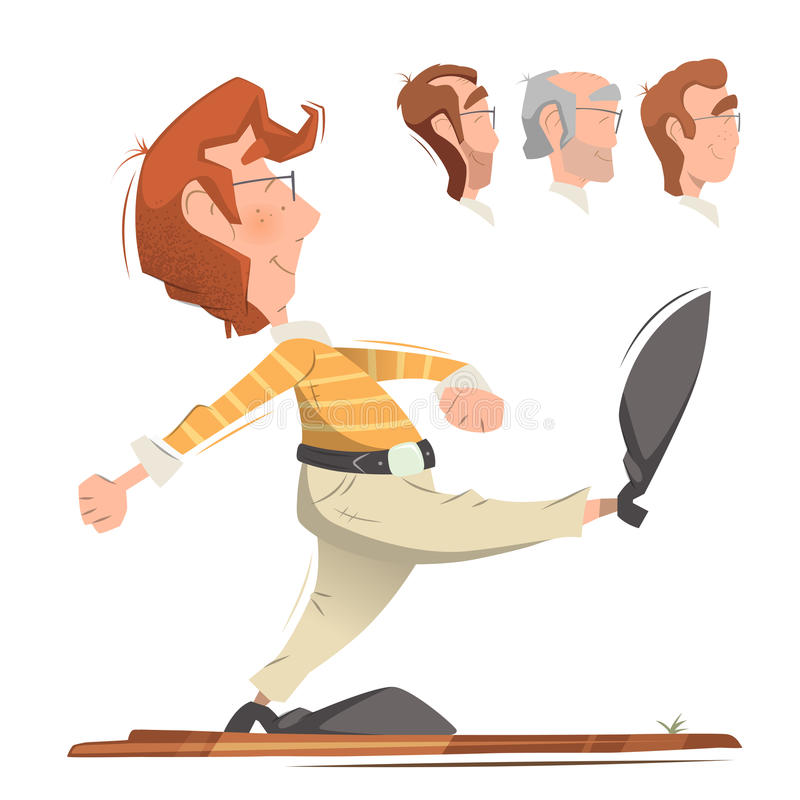Walking man. Smart clever responsible executive man employee office worker going forward. Color vector illustration vector illustration
