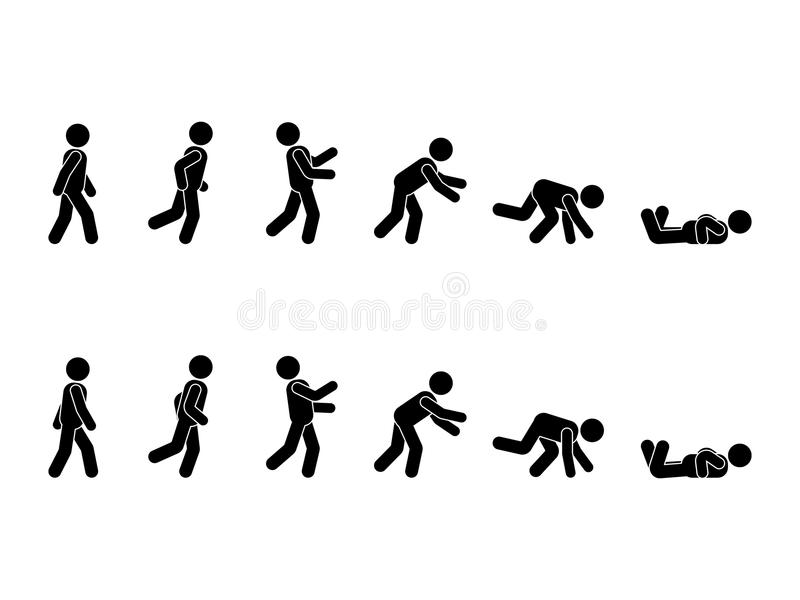 Walking man stick figure pictogram set. Different positions of stumbling and falling icon set symbol posture on white. Walking man stick figure pictogram set vector illustration