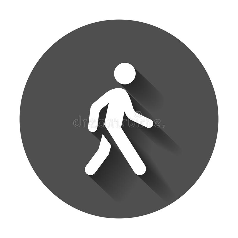 Walking man vector icon. People walk sign illustration on black stock illustration