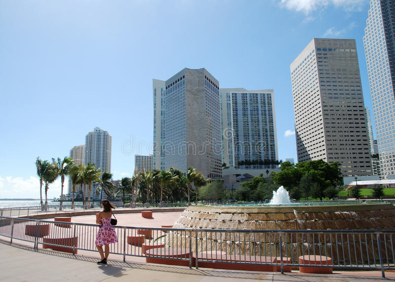 Walking in Miami stock photography