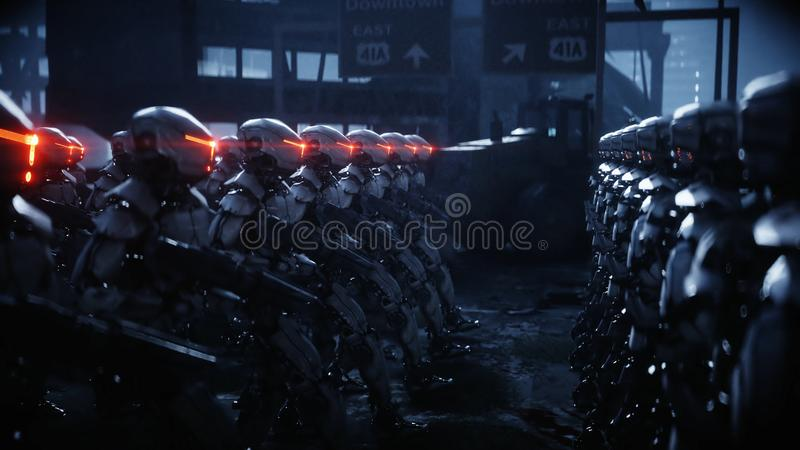 Walking military robots. invasion of military robots. Dramatic apocalypse super realistic concept. Future. 3d rendering. royalty free illustration