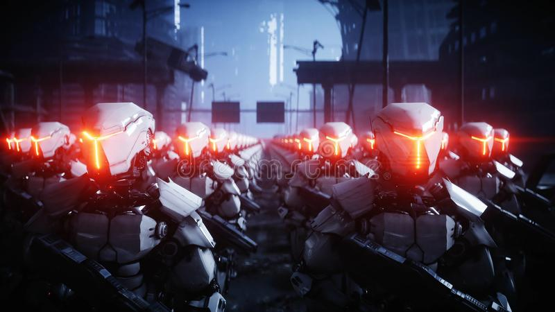 Walking military robots. invasion of military robots. Dramatic apocalypse super realistic concept. Future. 3d rendering. Walking military robots. invasion of vector illustration