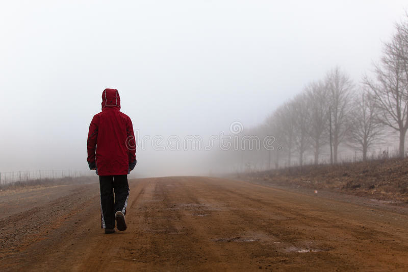 Walking Mist Dirt Road Male Stock Photography