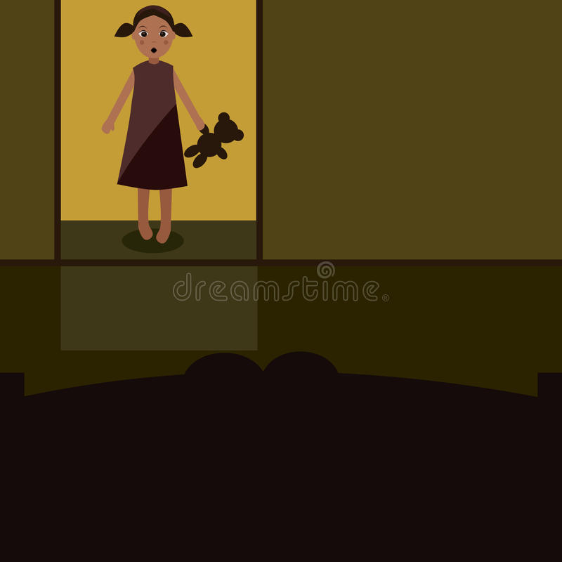 Walking in on mom and dad. Girl walking in on mom and dad in the bedroom, vector