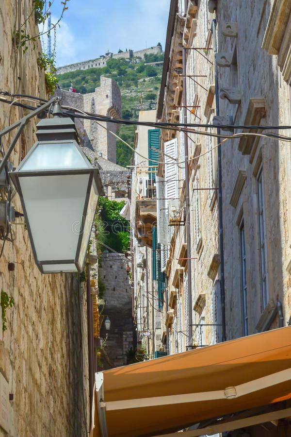 Walking on narrow streets in town Dubrovnik, Croatia on June 18, 2019. Some episodes of the Game of royalty free stock image