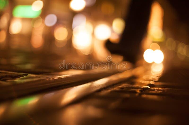 Walking At Night On Street Stock Images