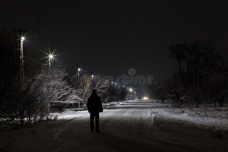 Walking at the night stock photo