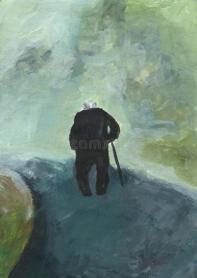 Walking old man. Gray-haired elderly man goes along the road. Lonely senior citizen with a cane. vector illustration