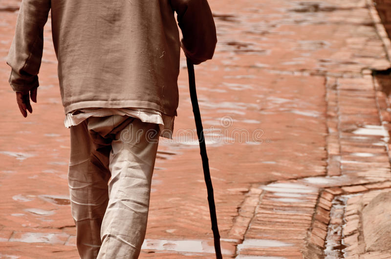 Download Walking Old Man With The Stick Royalty Free Stock Image - Image: 18450026