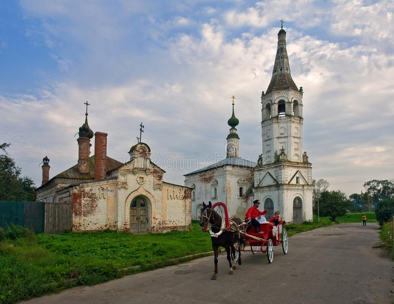 Walking through the old town of Suzdal. Russian province. The beauty of the old city stock photos