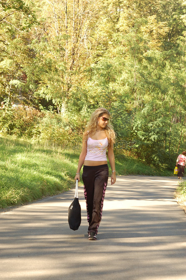 Walking in Park stock photo