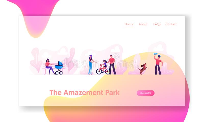 Walking in Park Website Landing Page. Woman with Baby Stroller, Parents Teach Child Riding Bicycle, Teenager Playing Frisbee stock images