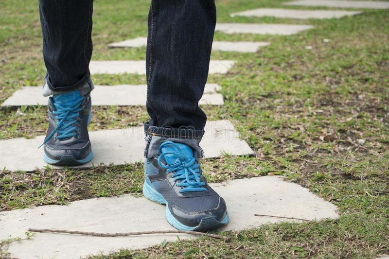 Walking path on a green grass stock image