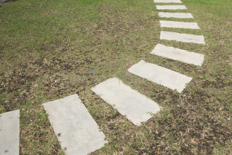 Walking path on a green grass royalty free stock image