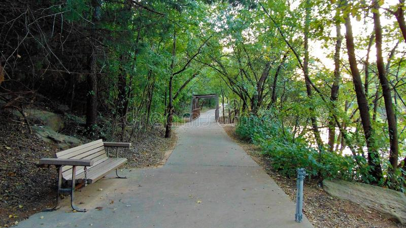 Walking path at Lucy Park. In wichita falls Texas where the water fall is located royalty free stock photography