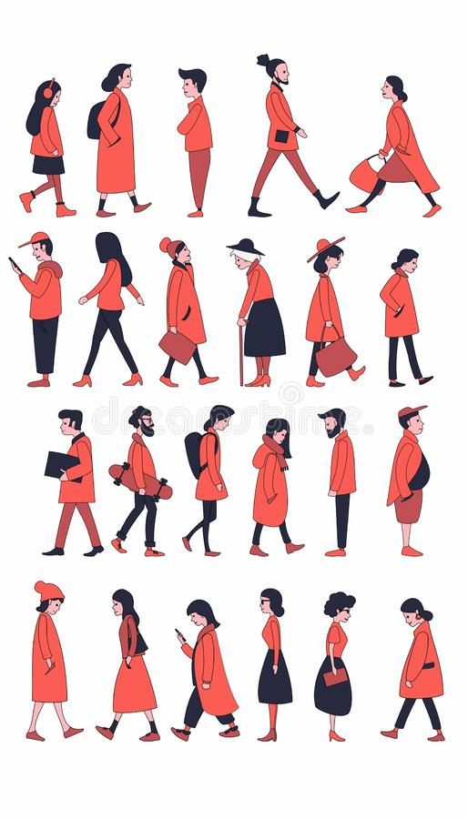Walking people in outerwear. royalty free illustration