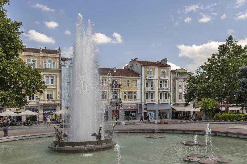 Walking people at Pedestrian streets at the center of city of Plovdiv, Bulgaria stock images