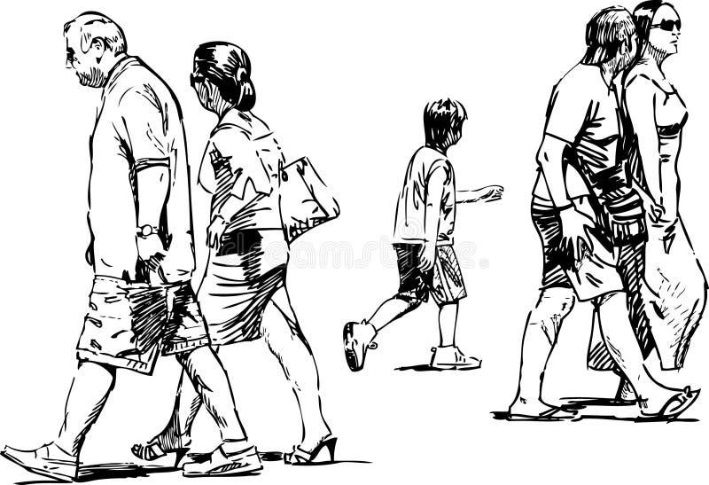 Walking people royalty free illustration