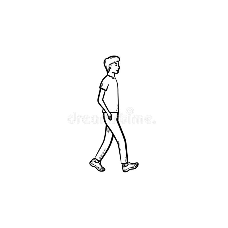 Walking person hand drawn outline doodle icon. royalty free illustration
