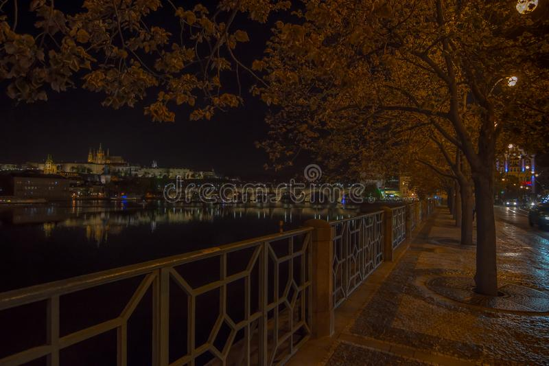 Walking Prague city at night.  royalty free stock photo