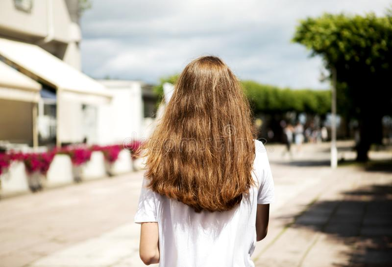 Walking on promenade. Rear view of young women with long hair walking on promenade stock images