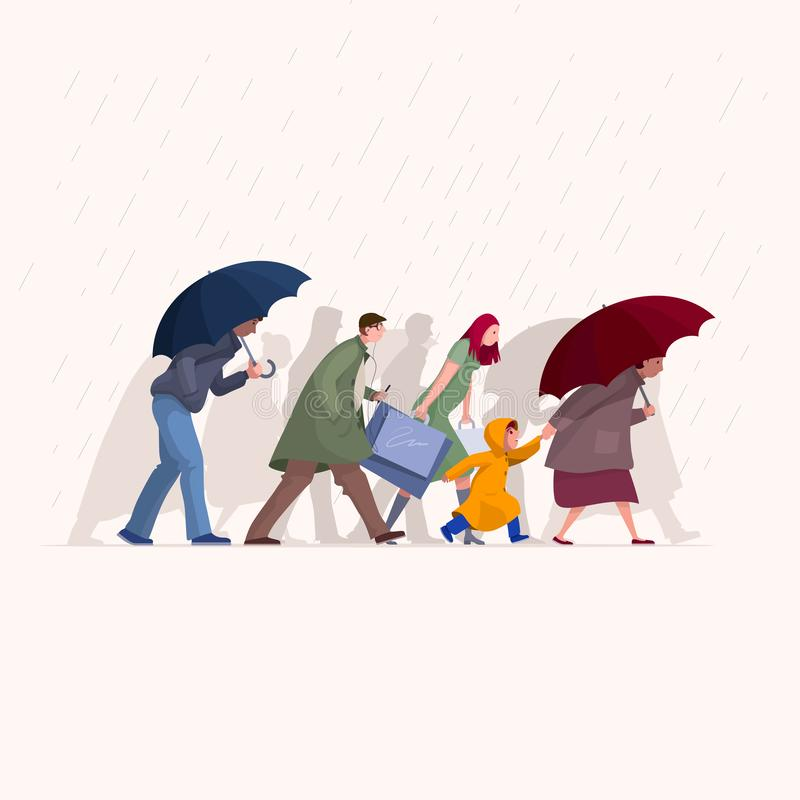 People are walking in the rain stock illustration