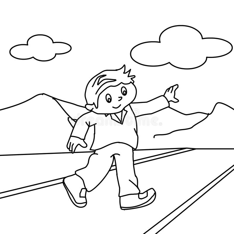 Walking On The Road Coloring Page Stock Illustration - Illustration ...