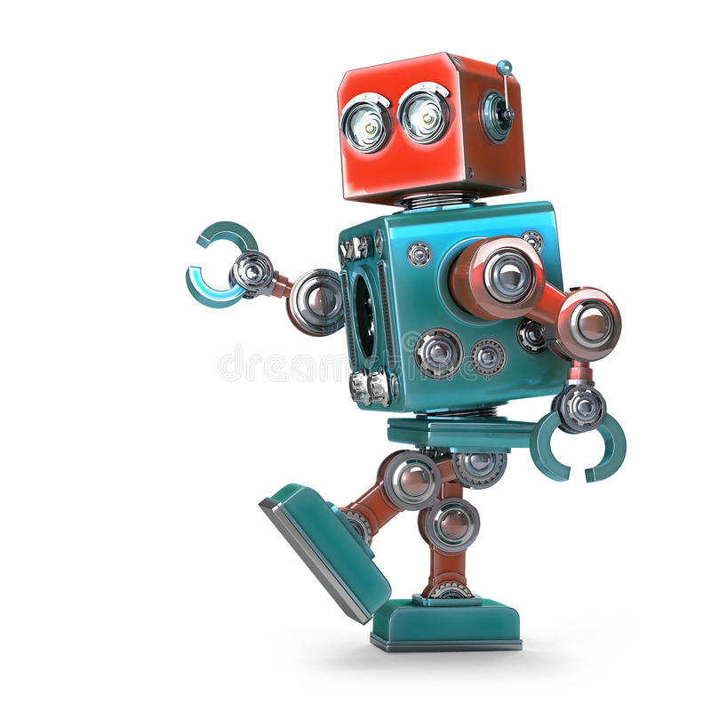 Walking Robot. Isolated. Contains clipping path stock illustration