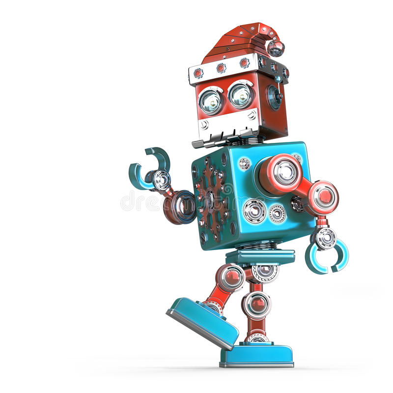 Walking robot santa. Isolated. Contains clipping path royalty free illustration