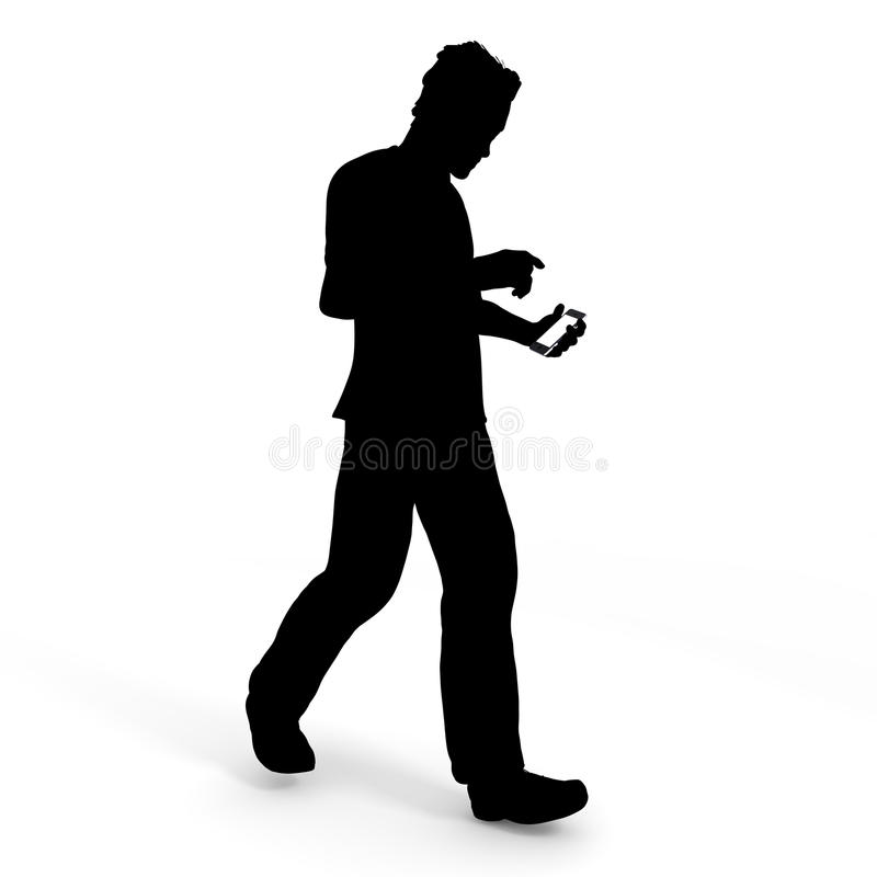 While walking smartphone / men. Mobile phone use while walking. Around is dangerous invisible. I will concentrate on the screen. There is a risk of an accident stock illustration