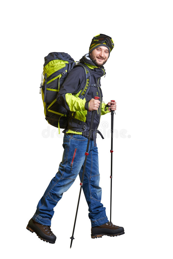 Walking smiley hiker stock photos